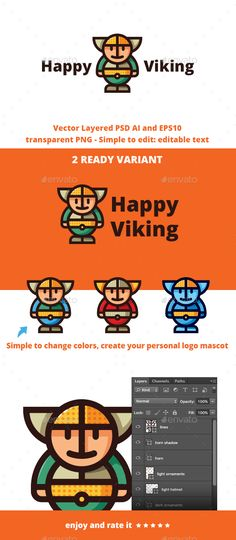 Happy Viking	 Logo Design Template Vector #logotype Download it here: http://graphicriver.net/item/happy-viking/15649082?s_rank=700?ref=nexion