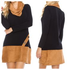"""""""Walk The Line"""" dress with faux suede trim is available at www.poshclicks.com in sizes S-L $42.99"""