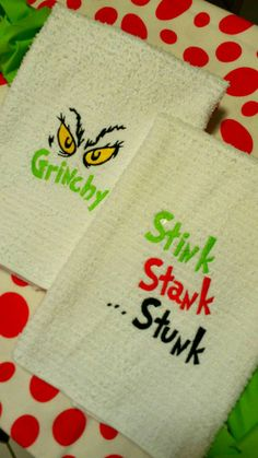 Hey, I found this really awesome Etsy listing at https://www.etsy.com/listing/260606657/grinch-towels-humorous-stink-stank-stunk