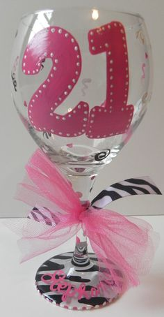 Birthday Wine Glass 21 by SassyPeasDesigns on Etsy 21st Birthday Glass, Birthday Wine Glasses, Diy Wine Glasses, Decorated Wine Glasses, Hand Painted Wine Glasses, 21 Birthday, Birthday Ideas, Wine Bottle Crafts, Mason Jar Crafts