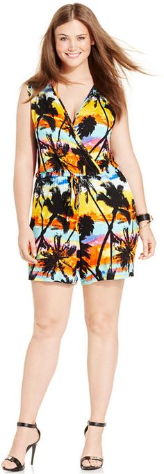 4ac1f495dd Spense Plus Size Tropical-Print Romper - Jumpsuits   Rompers - Plus Sizes -  Macy s