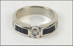 Diamond, Sapphire, and 14 Karat White Gold Ring : Lot 129-7283 #diamond #sapphire #gold #ring #couture