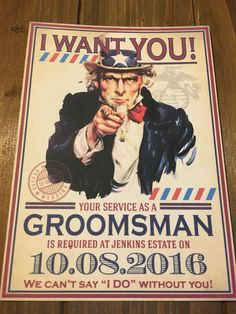 Groomsman proposal invitiation, Uncle Sam theme available on Etsy: BHamptonDesign
