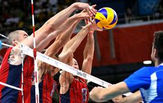The U.S. Men's Volleyball team block a spike from Italy. The Italians went on to win the match. #Volley People