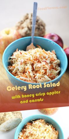Healthy and delightful celery root apple carrot based salad. Only three core ingredients deliver amazing and fresh tasting salad results. Enjoy shredded celery root, mixed in with sweet and crunchy honey crisp apple, combined with shredded carrots. All you need is a box grater and a vegetable peeler.From my family table to yours. #Salad #CeleryRoot #CeleriacSalad