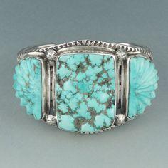 Ernie Lister Navajo Stamped Silver Bracelet with Carved Turquoise | Shiprock Santa Fe