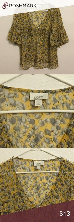 LOFT Yellow & Black Floral Blouse Size L Gently Used LOFT Tops Blouses