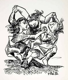 1965 Print Pablo Picasso Ronde Enfants Children Girls Dance Play Abstract Art | eBay