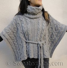 photo of #163 cable love cowl neck poncho knitting pattern (patt incl. ribbed belt, not seed st belt shown here)
