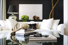 dark walls, white couch