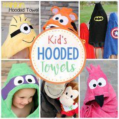 Sewing Gifts For Kids Children's Hooded Bath Towels-Patterns to sew all these cute kids towels (and more). Animals and favorite kids characters in a great hooded towel pattern. Makes a great gift! Sewing Projects For Kids, Sewing For Kids, Baby Sewing, Diy For Kids, Gifts For Kids, Sewing Crafts, Sewing Ideas, Sewing Tips, Sewing Hacks