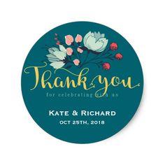 Rustic Flower Script Thank You Wedding Sticker Label  #wedding #flower
