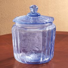 Ice Blue Glass Biscuit Jar - Zoom