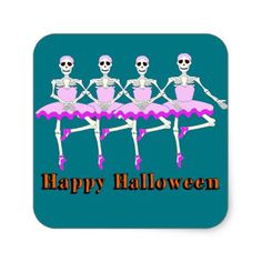 "#funny - #Skeletons Dancing Ballet ""Happy Halloween"" Square Sticker"