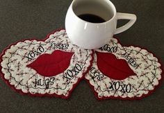 A personal favorite from my Etsy shop https://www.etsy.com/listing/500109541/valentine-hearts-mug-rugs-x-x-o-os