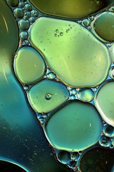 teal, yellow, green bubbles.
