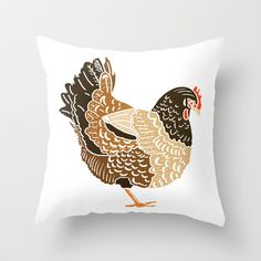 Three French Hens Throw Pillow by Emma Fitzgerald - $20.00
