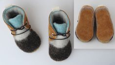 Leather and Wool Baby/Toddler Shoes, Slippers, First Walking Shoes, Minimalist Shoes, by Ollie and Tate on Etsy