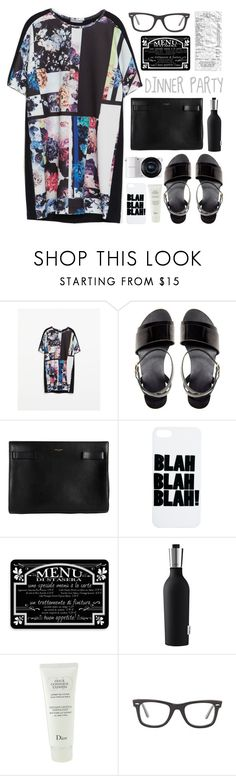 """""""#95 dinner party tonight"""" by giulls1 ❤ liked on Polyvore featuring Zara, ASOS, Yves Saint Laurent, Samsung, Bungalow Flooring, Eva Solo, Ray-Ban, dressy, fun and NightOut"""
