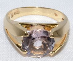 Amazing Synthetic Morganite Ring set in 14K by LadyLibertyGold