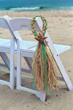 Starfish and Raffia Chair Hangers, Beach Wedding, Choose your Ribbon, Destination Wedding, Seashells
