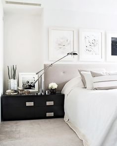 kelly hoppen interiors// I would add lots of colour but I love the scale & balance of shapes: headboard, sideboard, frames