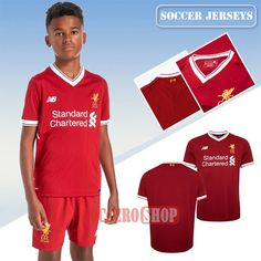 Create Custom Great Red Liverpool Home Kids New Soccer Jerseys With Your Name 2017 2018 Personalisation