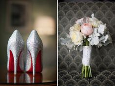 Bridal Louboutins and floral bouquet from a Philadelphia wedding with a blue, gray, gold and ivory color palette. Pretty! Photos by Justin and Mary Marantz