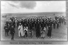 Montreal Garrison Artillery and Indian scouts, North West Rebellion, 1885 Oliver B. Buell 1885, 19th century. Gift of the Estate of M. Omer Lavallée. MP-1993.6.2.31. © McCord Museum.