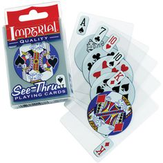 @Overstock - These clear plastic playing cards are durable and waterproof and perfect for any game, any time and anywhere. The back has logos covering the numbers so other players can't actually see what cards you hold.http://www.overstock.com/Sports-Toys/Patch-Products-Imperial-See-thru-Poker-Playing-Cards/6962818/product.html?CID=214117 $8.99