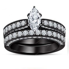 14k Black Gold Plated Marquise Cut Simulated Diamond  925 Silver Bridal Ring Set #Aonejewels