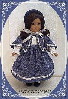 "Time-period ""1853-Indigo Travel Suit Frock"" 4pc Ensemble fashioned for the…"