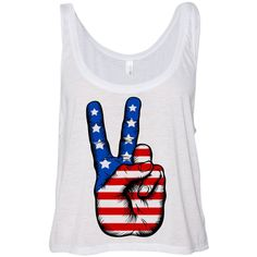 Cropped Tank Top Peace American Flag Summer Outfit Spring Fourth of... ($15) ❤ liked on Polyvore featuring tops, shirts, tank tops, crop tops, tanks, summer tanks, american flag tank top, summer crop tops, american flag crop tank and crop shirts
