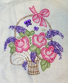 Cross Stitch Patterns by designer Pamela Kellogg Cross Stitch, Crazy Quilting and Embroidery Embroidery Floss Crafts, Hand Embroidery Patterns Flowers, Hand Work Embroidery, Baby Embroidery, Simple Embroidery, Embroidery Transfers, Vintage Embroidery, Cross Stitch Embroidery, Cross Stitch Patterns