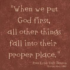 Putting God first...