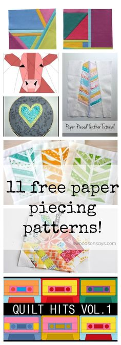 11 Free Foundation Paper Piecing Patterns - tutorials and tips on how to foundation paper piece too! #paperpiecing #sewing