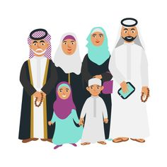 Selfie arabic family Graphics Selfie happy muslim arabic family members isolated on white background. Arab cartoon people father w by Vectorgift
