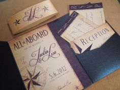 All Aboard Nautical Wedding Invitation by ShannonFrezzaInvites,