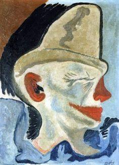 Frantisek Tichy, Head clown (1927), oil painting on canvas, (Czech Rep.)