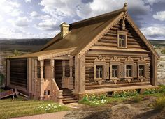 Wooden Architecture, Russian Architecture, Cabin Homes, Log Homes, Patio Design, Exterior Design, Cabana, Tiny Log Cabins, House Trim