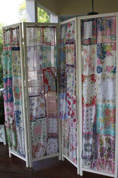Screen made from vintage handkerchief by Here a Chick There a Chick... as ever, could use variety of materials incl. crochet, lace, applique, smocked, drawn thread, embroidery. The airy batiste or voile of handkerchiefs allows light and some air movement. Increase that with openwork of some kind.: