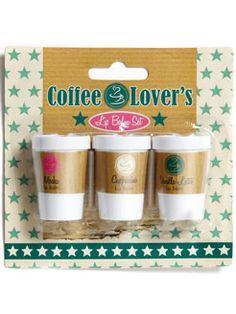 lip balms: mocha, cappuccino, vanilla latte