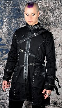 Apocalypse Jacket Unisex  Unisex Black Jacket Lightly Lined with Rivet Detail throughout, Embroidered Symbol on Right Chest, Tatttered Edges, 3 Adjustable Straps Across the Front, 2 Adjustable Straps on each Arm, Vegi Leather Details Around the Collar, Arms, Center Front and Back Around the 2 Zipper Pockets and a Zipper Closure.