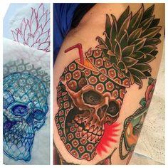 Found this @illustratedmonthly an amazing #pineapple #skull #tattoo by @zackspurlock