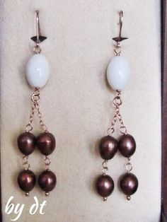 Beautiful.....Long Drop RoseGold Earings with Brown Pearls and White Onyx