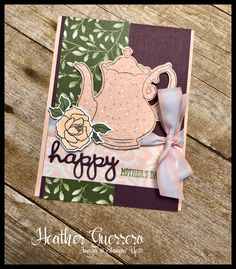 Stampin' Up! Tea Together stamp set and Tea Time Framelits combine for a beautiful Mother's Day card! #stampinup #teatogether #mothersday