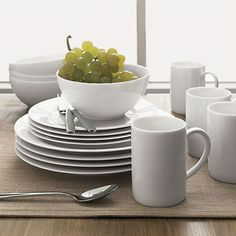 """Budget Basics: Simple White Dinnerware    -   Corelle Wear is the best. I plan to buy new """"Winter Frost"""" pieces to supplement the pieces my mom has had since I was a little girl. I don't know why she decided to switch, but her loss is my gain!"""