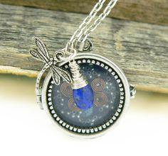 Orgone Energy Locket Necklace - Glass Front Locket - Charm Necklace - Blue with Lapis Lazuli Gemstone on Etsy, $59.00