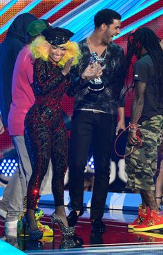 Nicki Minaj and Drake on stage while accepting the Best Hip-Hop Video award for 'HYFR' at the 2012 MTV Video Music Awards.