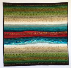 Quilted wall hanging. September river. Teal rust and green. Abstract textile art. This quilt is sold. by AnnBrauer